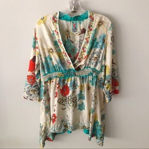 Johnny Was Silk V Neck Embroidered Blouse M